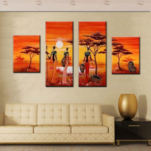4 panels hand painting abstract africa women life canvas wall picture orange yellow decorative landscaping mural