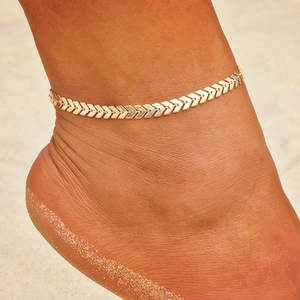 Bohemian Arrow Anklet Bracelet for Women Punk Metal Chain Sequin Anklets Summer Beach Anklet Female Barefoot Leg Chain Jewelry
