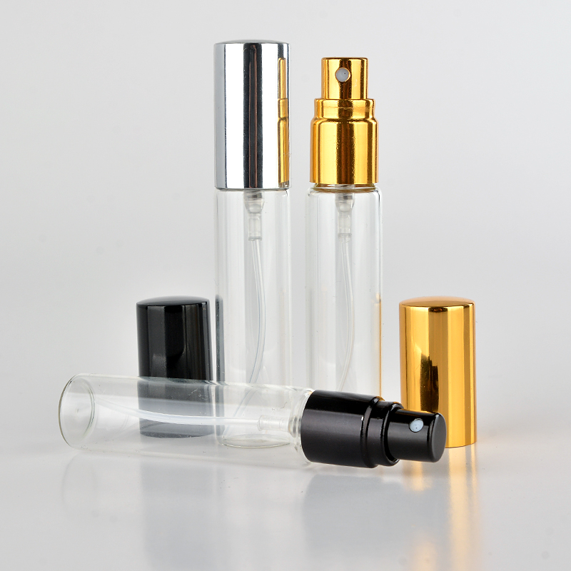 цена на Wholesale 100 Pieces/Lot 10ML Portable Glass Refillable Perfume Bottle With Aluminum Atomizer Empty Parfum Case For Traveler