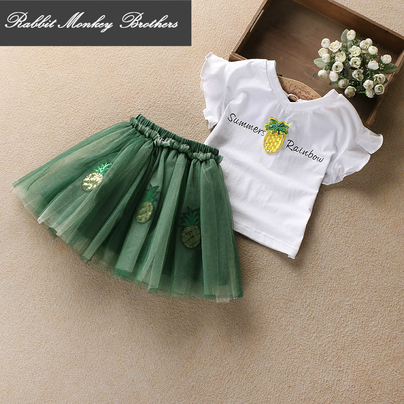Girl clothing summer set baby clothing cotton sequins pineapple short sleeve T-shirt Short princess skirt two pieces set children s garment 2017 summer new pattern girl school the wind of cotton t straps cowboy skirt two pieces suit