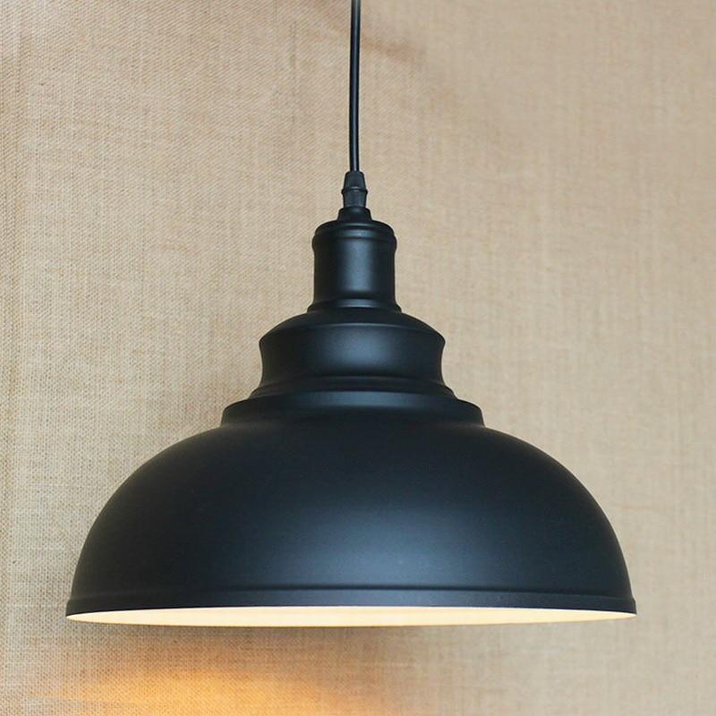 Ac100 240v Black Metal Lampshade Classics Retro Industrial Rustic Pendant Lamp For Kitchen Diningroom