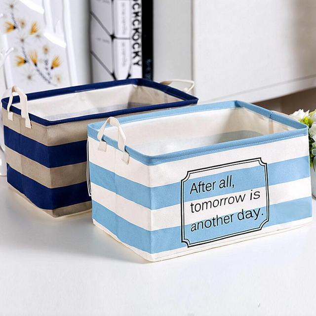 501348cd6f5a Blue Stripe Cloth Home decoration Bathroom Dirty Clothes Laundry Storage  Buckets box Bag Kids Toy Cotton Linen Storage Basket