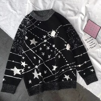 Star Pattern Women's Warm Stylish Woolen Sweaters Girls One Size Woman Cashmere Pullover Sweater Clothes