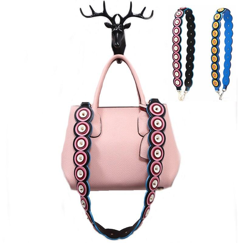 New Block Color Leather Handbag Accessories Rivet Strap You Bag Straps Wide PU Women Shoulder Belt Ripple Bag Handles 491