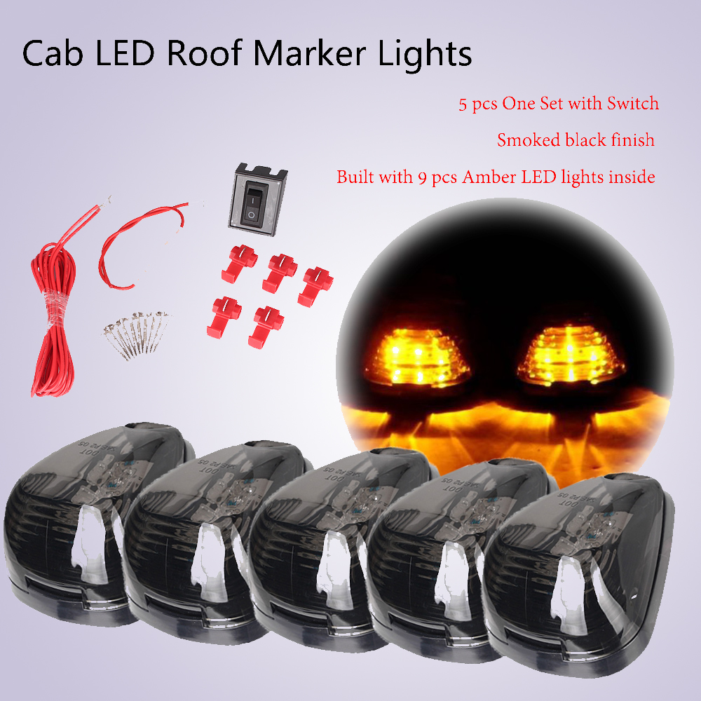 9 LEDs Cab Roof Running Marker Lights Dome Lamp w/ Switch for 1999-2016 Ford E150 E250- E450 F250-F750 Super Duty Pickup Truck