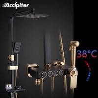 4 Function Shower Faucets Bathroom Faucet Set Black Finish Brass Made Shower Set 8 Inch Rain Shower Faucet Mixer Nozzle For Tub