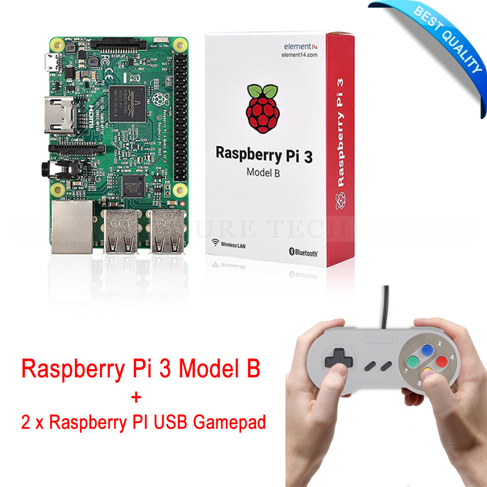 Original Raspberry pi / Raspberry pi3 with Wifi & Bluetoothal Element14 Raspberry Pi 3 Model b +2 x Raspberry PI USB Gamepad интегральная микросхема oem 3 2 pi b 512m pi b 1 raspberry pi 2 set 3