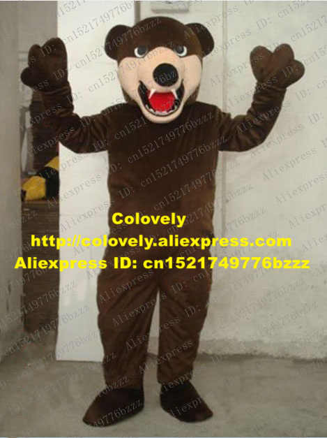 Smart Broen Bear Kostum Maskot Mascotte Ursus Arctos Besar Hitam Hidung Dua Tajam Gigi Mulut Besar Dewasa No 2023 kapal Gratis