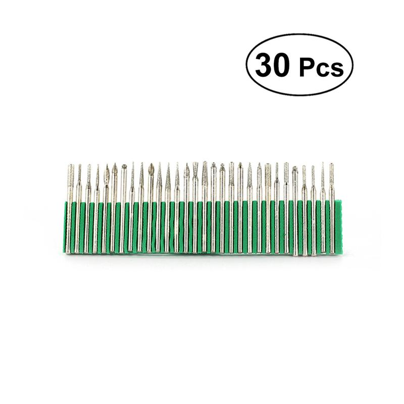 30PCS/Pack 3.0mm Assorted Diamond Burrs Diamond Mounted Points Set Diamond Drill Bit For Home DIY Woodworking Supplies