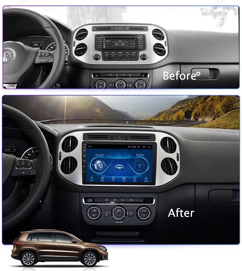 Super mince écran tactile Android 8.1 radio GPS Navigation pour tiguan 2010 2011 2018 tablettes stéréo Wifi multimédia USB Bluetooth