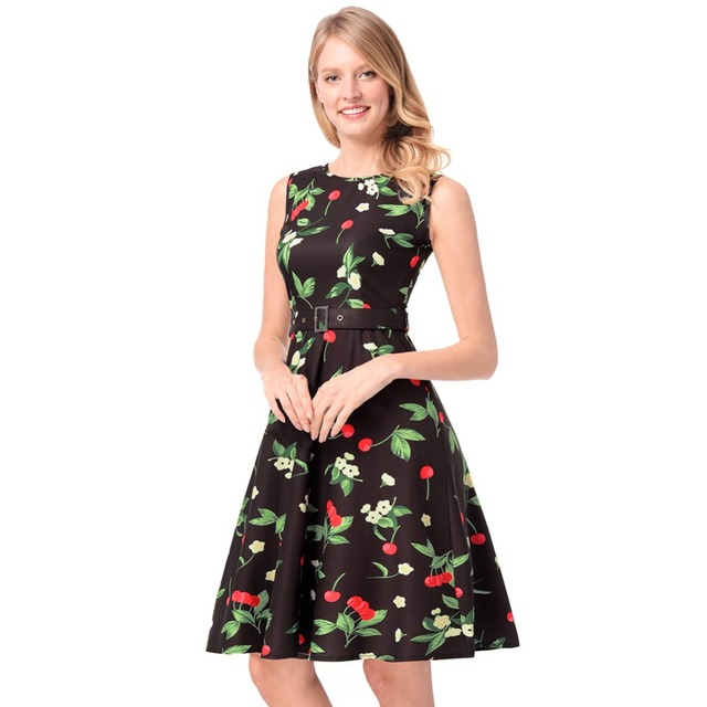 Sell Limitstock Brand Cherry Printed Retro Dress Plus Size Pinup