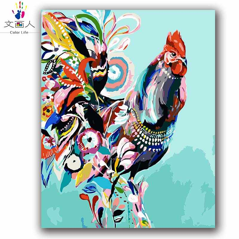 Coloring by numbers Chicken digital paint by numbers abstract animals oil painting by numbers hoom decor painting handwork gift