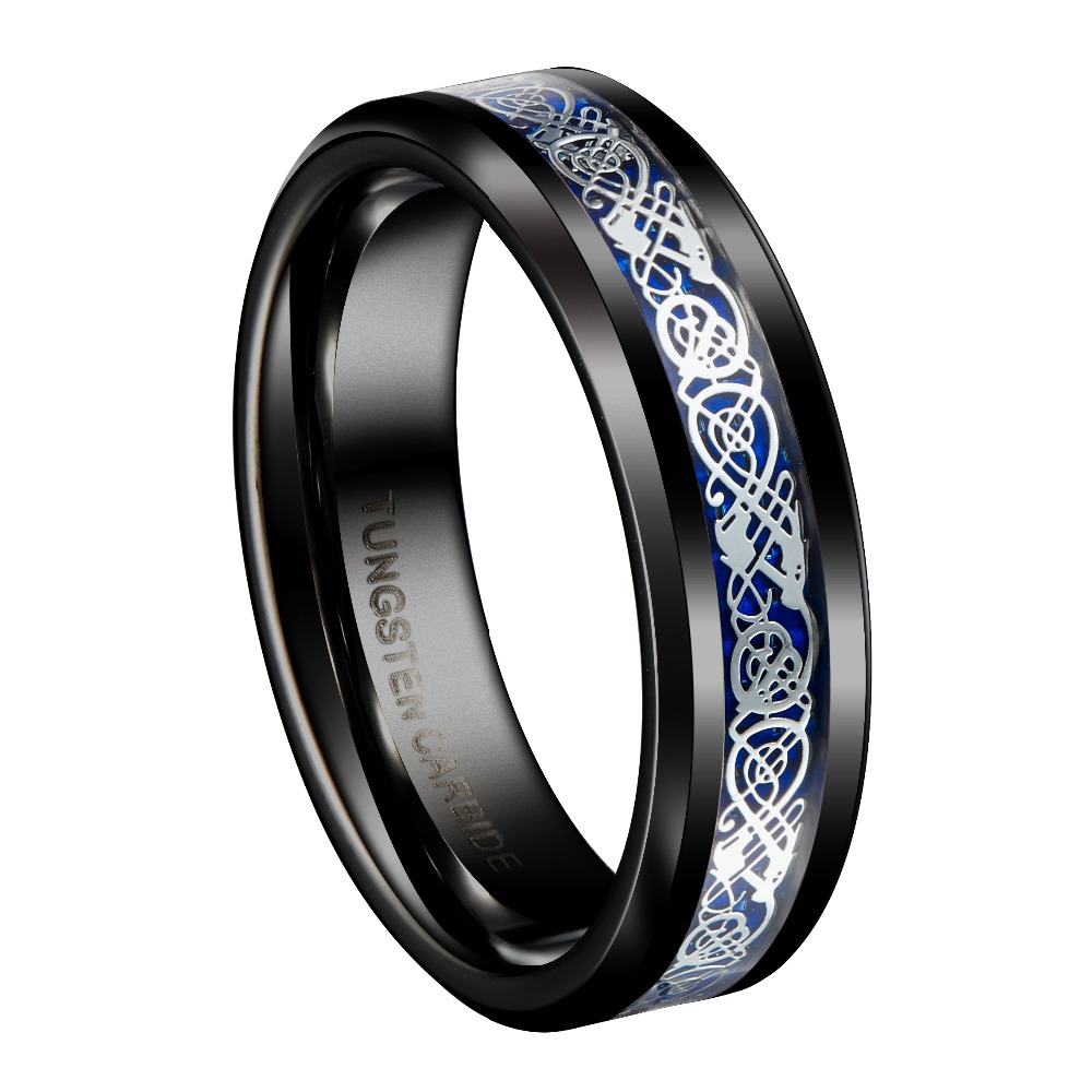 6mm Black Tungsten Carbide Ring Silvering Celtic Dragon Blue Carbon Fibre Wedding Band Mens Jewelry