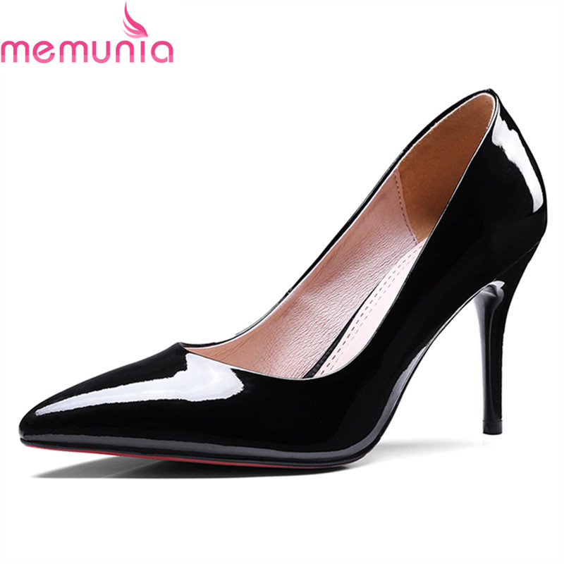 MEMUNIA 2018 hot sale genuine leather women pumps sexy stiletto high heels pointed toe wedding shoes bride spring autumn hot sale pointed toe buckle charm fashion wedding shoes genuine leather sexy red pumps women pumps high quality high heels shoes