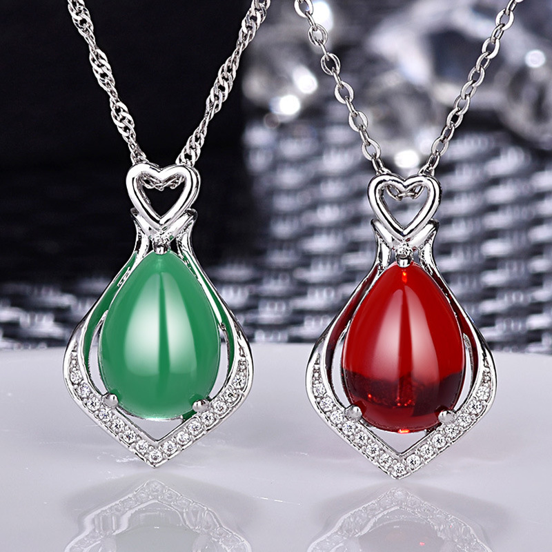 YSP28 Women fine jewelry,beautiful and colorful carnelian pendant,water drop shape 925 silver necklace for graceful women a suit of graceful faux pearl flower shape necklace and earrings jewelry for women