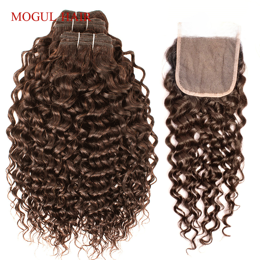 MOGUL HAIR Chocolate Brown Color 4 Brazilian Water Wave Bundles With Closure 12 24 inch 3