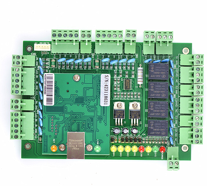 New Four Door 4 Readers Professional TCP/IP Network Access Control Board Green Board for Door Access Control System T04 tcp ip network l04 intelligent four door one way door access control panel for four door control support english software