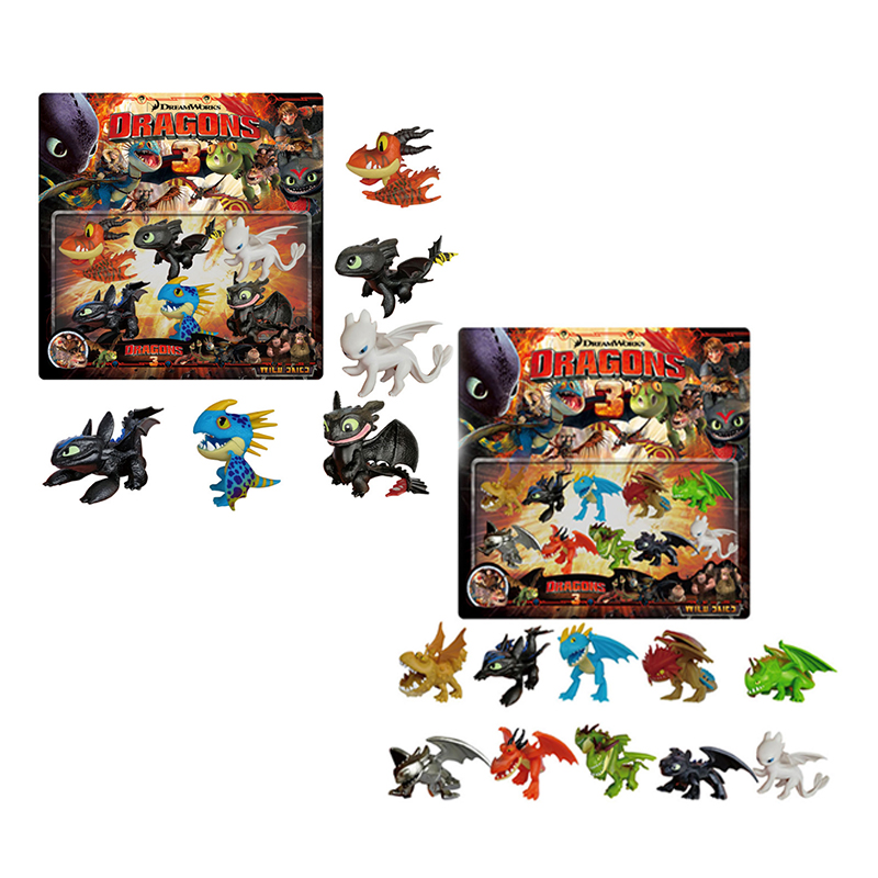 New 10pcs/Set Action Figure How To Train Your Dragon 3 Toothless Night Fury Light Fury Collection Toys For Children Gift Doll