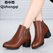 2017 winter new genuine leather women naked boots wool warm snow boots women plus size 35-43 # cotton shoes female