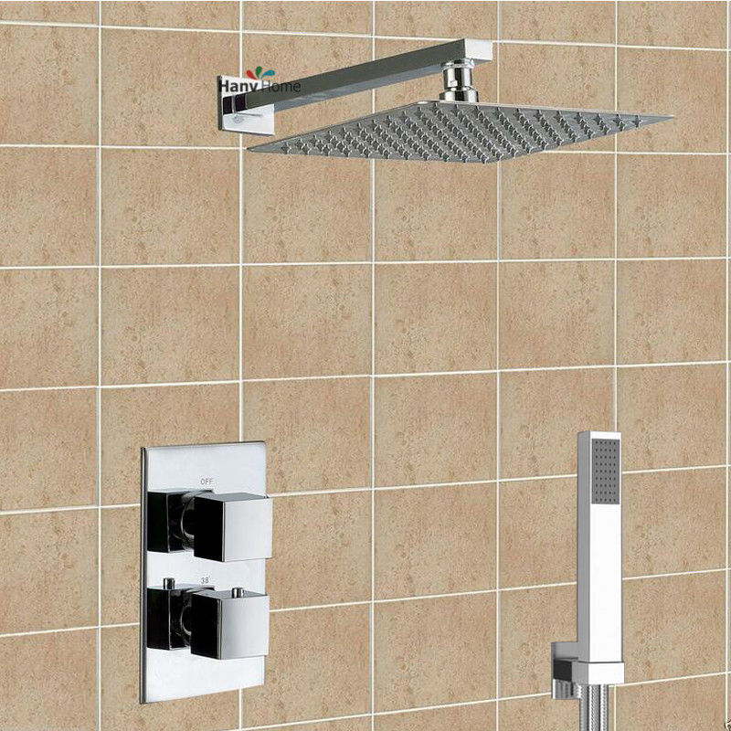 Two Function Brass Thermostatic Mixer Shower Valve 8 Stainless Steel Rain Shower Head Set Adjust Mixing Water Temperature