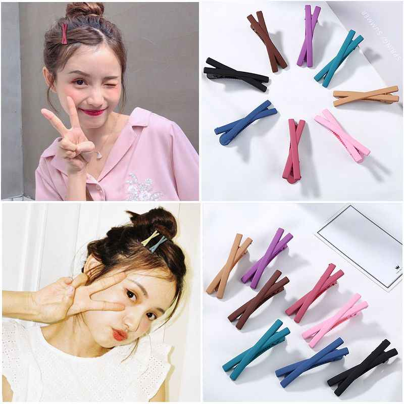 New Fashion Woman Barrettes candy color Cross Side Clamp Hair Clip Accessories Frosted Girls Hairgrips Hairpin Hairclip Headwear