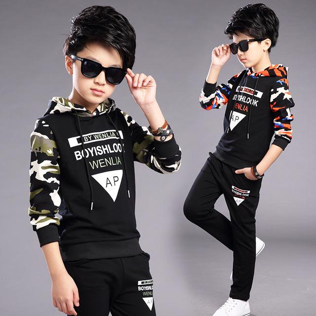 2017 Nova Primavera Meninos Ternos Primavera Crianças Tracksuits Conjuntos de Roupas Para Meninos Camuflagem Esportes Adolescentes Meninos Sportswear