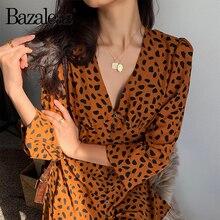 Bazaleas 2019 Center Boutons Femmes Robe Volants Robe Vintage robe Imprimé  Léopard Sexy orange Mini Robes élégant porter 8fc87540e4a