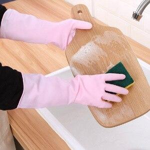 Image 1 - 1 쌍 높은 학년 Antiskid 접시 세척 장갑 고무 청소 실리콘 장갑 주방 가구 쉬운 세척 손 보호 장갑