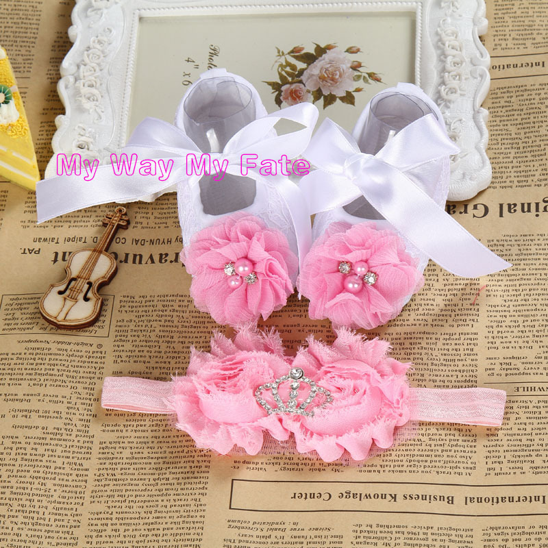 Baby Girl satin lace toddler shoe Christening Baptism infant shoes Headband set,Cute Flower cheap newborn shoes,toddler booties