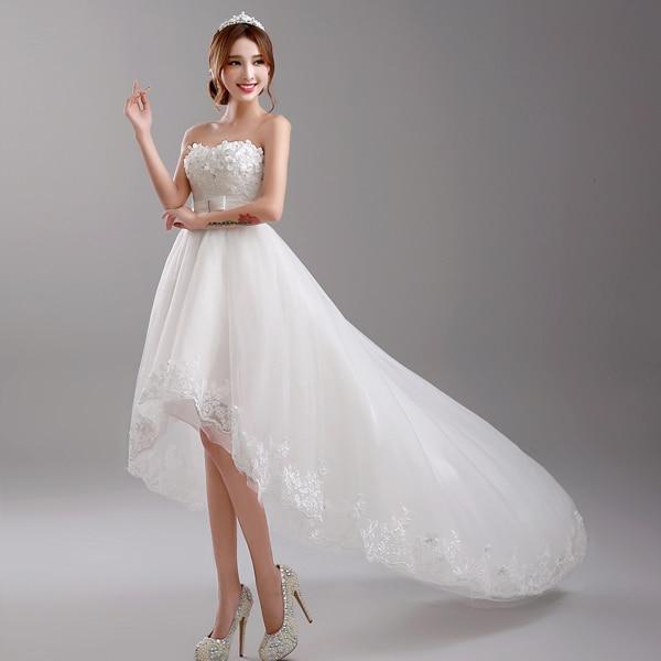 Quinceanera dresses short front long back white dress