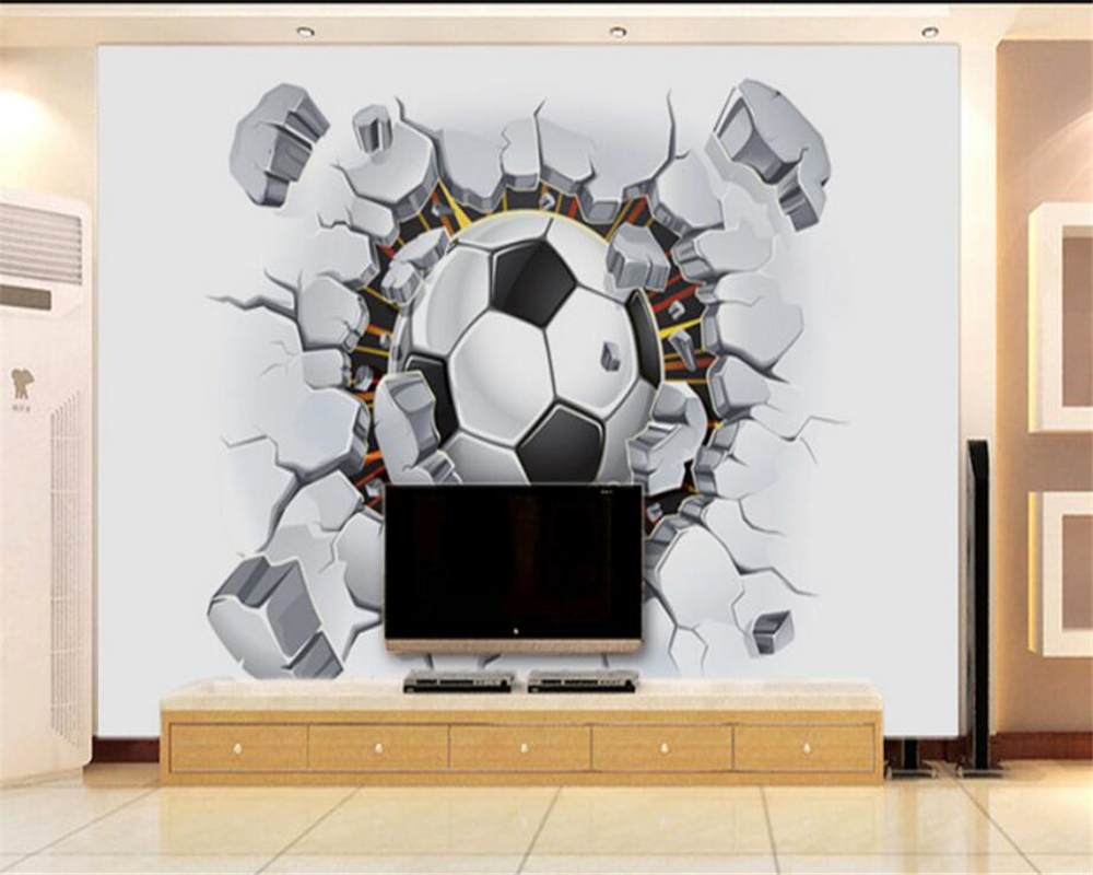 . US  8 85 41  OFF beibehang Custom 3d Wallpaper Mural Football Wall 3D  Soccer Living room bedroom living room backdrop 3d wallpaper papel tapiz in