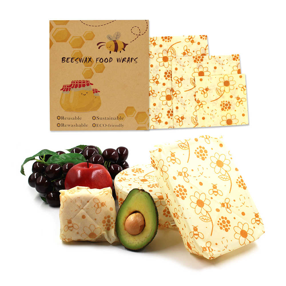 New 3 pieces / set of environmentally friendly food packaging beeswax film reusable fresh-keeping bag cover stretched packaging