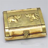 TJB971 Tibet handicrafted yak kemik mücevher kutusu Nepal vintage El Sanatları Altın Fil Kutusu