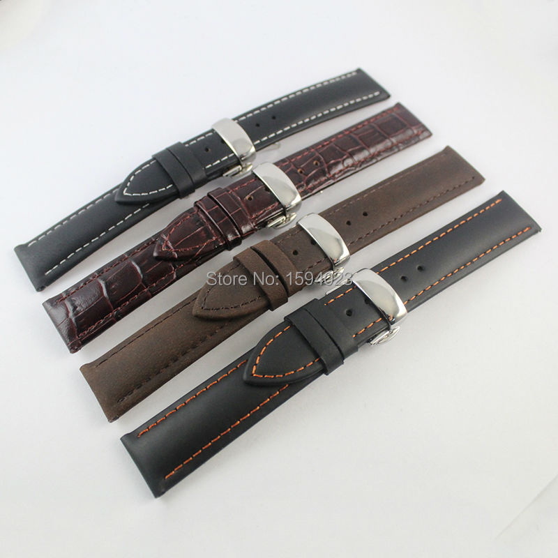 19mm (Buckle18mm) T095 High Quality Silver Butterfly Buckle +  Black white Black orange  line  Genuine Leather Watch Bands Strap