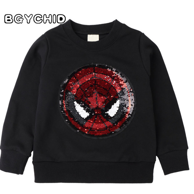 14b485a1d T-Shirts For Boys Baby T Shirt Spider Man Reversible Sequin T Shirt  Switchable Toddler Sweatshirt With Sequins Shirts Children