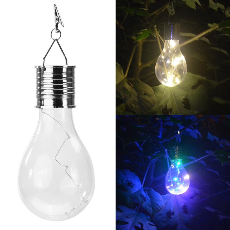 Solar Power LED Light Garden Decoration Hanging Light Bulb 5 LED Waterproof Lawn Lamp for Outdoor Camping Colorful Lighting