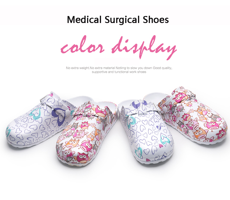 Fashion Printed Hospital Surgical Shoes Medical Slippers Cleanroom Work Shoes Anti-Slip Slipper Medical Accessories