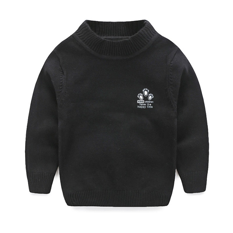 Casual Stricken Jungen Pullover Solide Langarm-pullover Baumwolle Warme Winter Pullover Stickerei Jungen Kleidung 1-7 T Kinder Kleidung