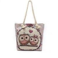 2017 New Cartoon Owl Printed Shoulder Bag Women Large Capacity Female Shopping Bag Canvas Handbag Summer