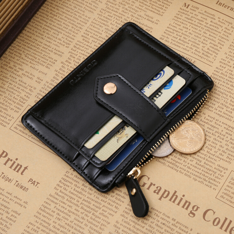 High Quality Pu Leather Card Wallet Men with Zipper Pocket Casual Small Hasp Credit Card Holder Mini Money Coin Purse Male casual weaving design card holder handbag hasp wallet for women