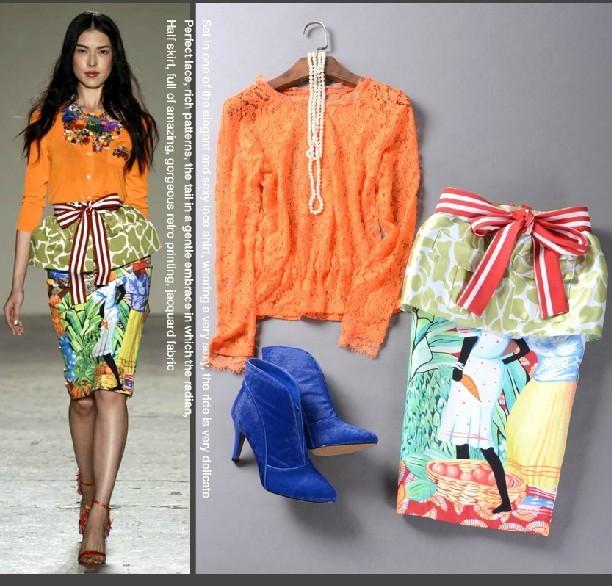 ALTA CALIDAD Nuevo 2016 Runway Suit Set mujeres Del Diseñador de Moda Elegante Blusa de Encaje Impreso Falda Conjunto