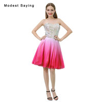 Sexy Ombre Pink A Line Short Cocktail Dresses 2018 with Rhinestone Girls Formal Homecoming Party Prom Gowns vestidos de coctel