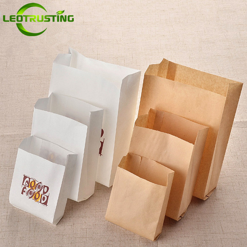 Leotrusting 100pcs 50gsm Kraft Paper Take-out Food Bags French Fiers Fried Chicken Hamburger Burrito Oilproof Good Food Bags