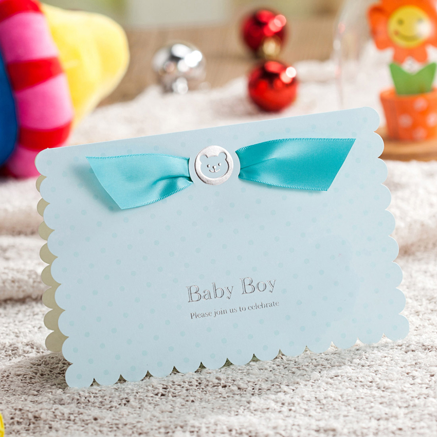 Detail Feedback Questions About Baby Birthday Invitation Cards With Cute Boy Car And Blue Ribbon Shower Greeting Crad For Party Decoration CW5302
