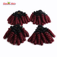 Ombre Burgundy/Brown/Grey Synthetic Curly Hair Weft kanekalon Crochet Hair Extensions Bouncy Curl Hair Weave 40roots/pack