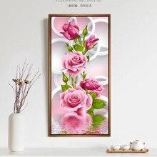 Вертикальная розовые сделай сам рукоделие крестом вышивки розы декора алмаз дрель