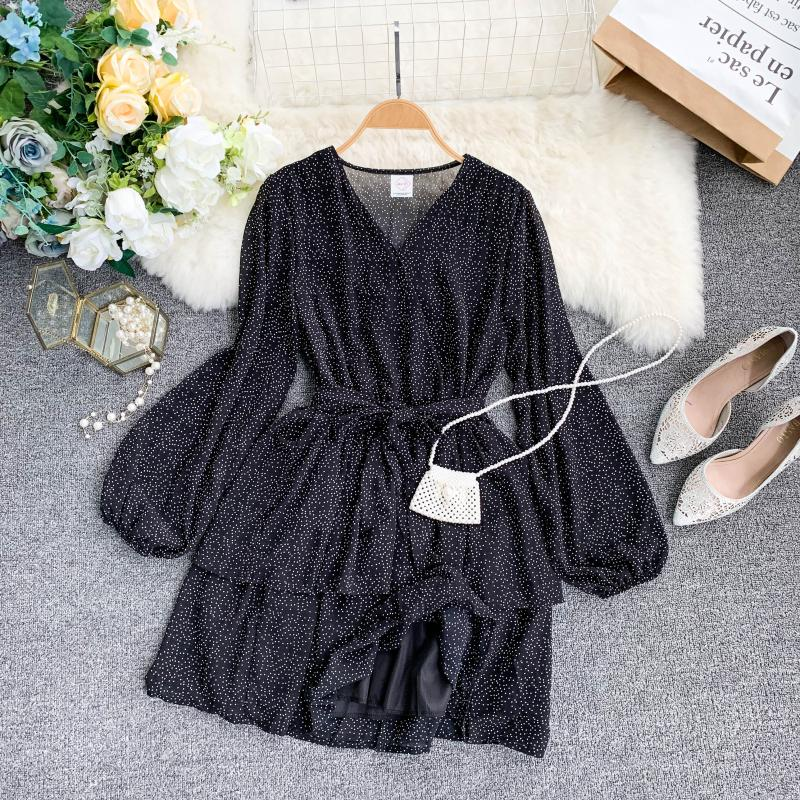 Korean Summer 2019 Sweet Women Dress Elegant V Neck Puff Sleeve Dot Print Dress Cascading Ruffle A Line Female Dress Vestido 48