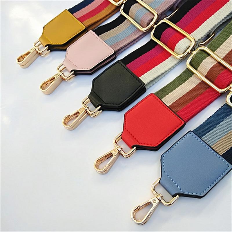 New Shoulder Bag Strap For Crossbody Women Bag Accessories Nylon Belt Straps For Bags Striped Handles Adjustable Strap Bag W059