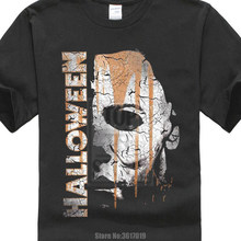 58de758c886 Cotton Vintage Tee Shirts Halloween Michael Myers Mask And Drips T Shirt  Scary Movie Horror Printed