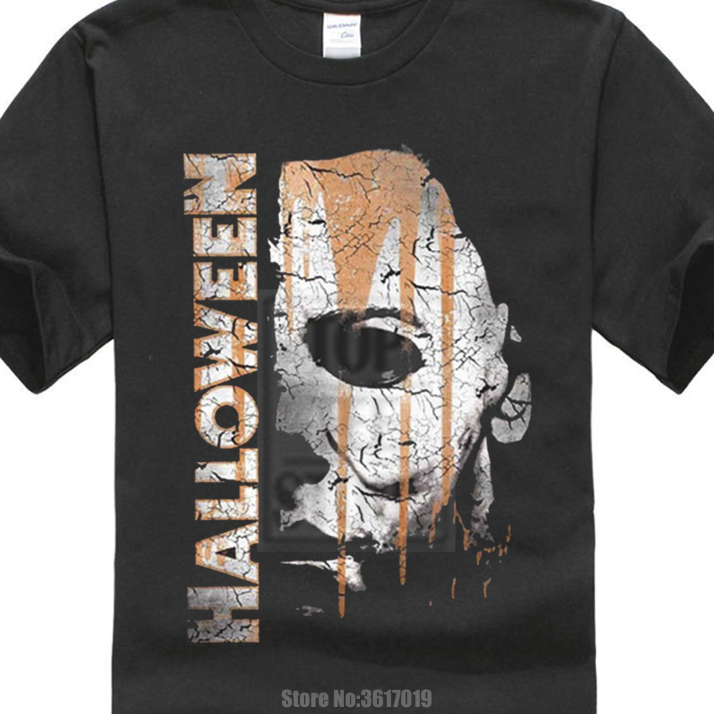 Cotton Vintage Tee Shirts Halloween Michael Myers Mask And Drips T Shirt Scary Movie Horror Printed Cool Tops Hipster Tees ...